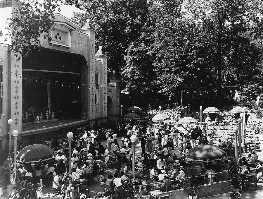 During the 1930s House of David Secretary Judge Dewhirst made modernizing the park a priority. The most significant of his contributions was the filling in of the old artificial lake and replacing it with this open-air stage and beer garden. For forty years this stage would be a popular setting for not only House of David performances, but for visiting entertainers, as well as the site for community events.
