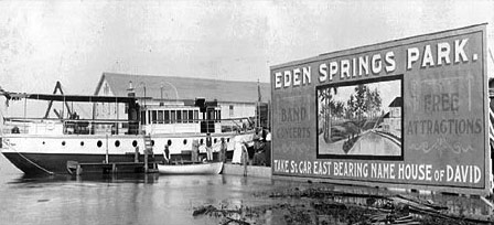 Visitors who flocked to the Benton Harbor area from Chicago via Lake Michigan steamers had only to board a city streetcar to the House of David and then ride a park train to reach Eden Springs.