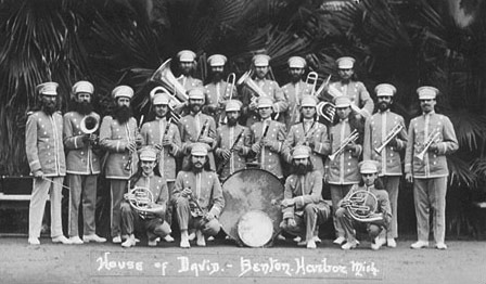Before the turn of the century the most popular band and dance music was the march.  John Phillip Sousa was famous as the March King and new dances such as the Foxtrot and Ragtime with their syncopated rhythms were the latest fad.  Large brass bands were the popular musical group of the time.  The original House of David road bands were formed as twenty piece brass bands.