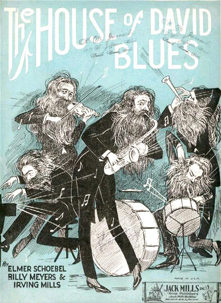 The House of David Blues was published in 1923 by a writing team headed by Elmer Schoebel.  Together they wrote many of the most popular Jazz tunes of that era.  In a 1968 interview Schoebel related that a representative from Robbins, a New York music publisher had found them in a Chicago café and charged them with writing a tune that would capitalize on the publicity about the House of David at the time.  Schoebel claims the House of David Blues was written in one hour.