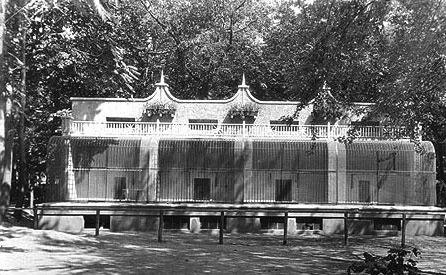 This is a picture of the Lion and Tiger House.  These cages were built to modernize the zoo and stand to this day, but were converted to agriculture pursuits.  In the 50's we filled in the inside floor and made a small fruit packing shed and later a cider mill with the conversion of the basement.  We have since sold our cider mill and pulled out our orchards.  We currently use this facility for storage.  The building sits on the East side of the railroad tracks near the East railroad bridge.