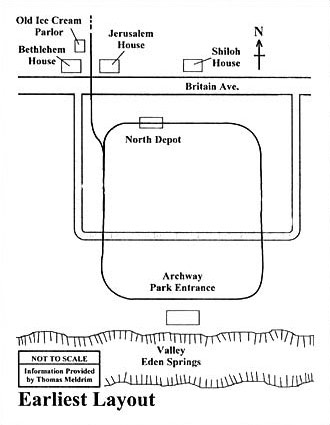 Evidence indicates that the first circular track was laid out in a ''D'' configuration with the flat side of the ''D'' running alongside of Britain Ave.  The curved side ran through the northern half of the park past the Archway Building.  This layout moved visitors from Britain Ave. and disembarked them at the Archway building to walk through the Arch and down a short road ending at the east end of the pond at the outdoor photographic studio in the valley portion of the park.