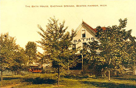 The House of David purchased a parcel of property from Eastman Springs in 1907 on the south side of Britain Ave. for the purpose of opening a resort.  Eastman Springs had been a health spa resort for many years before the turn of the century.  Eastman Springs featured health springs from which water was used for drinking and bathing.  The portion of Eastman Springs purchased by the House of David did not include the main Eastman Springs resort facilities to the east on Britain Ave.  These facilities continued in business for several years after the House of David opened Eden Springs next door.  This image is of the Eastman Springs bathhouse from about 1908.  To the left of the bathhouse can be seen one of the early Britain Ave. streetcars of the period.  This streetcar bears a striking resemblance to the passenger cars built at the colony for the miniature trains at about this time.