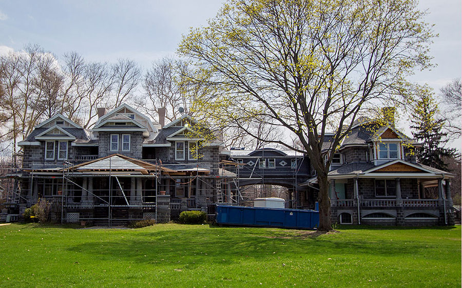 As you can see from this photo taken in the summer of 2015, the exterior work on the Annex (right) had been completed and the Diamond House itself is being worked on. All exterior wooden areas needed to be either replaced or be extensively rehabbed.